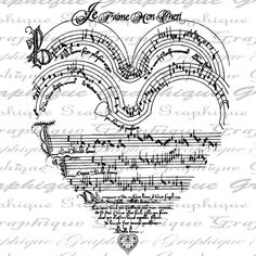 French I Love You Heart Music Score Valentines Day by Graphique