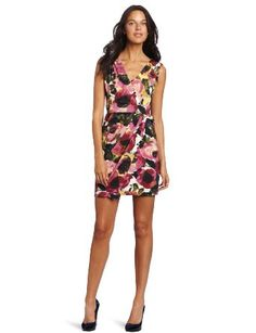 Three Dots Red Women's Wrap Dress:#Dress#Wrap Dress