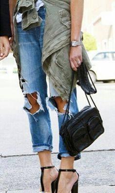 ripped jeans and chic pumps