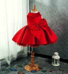 Girly Shop's Red Elegance Folded Round Collar Sleeveless Knee Length Layered Little & Big Girl Party Dress With Big Bow Front