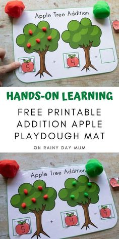 A free printable for helping children with hands-on math learning to add. Use playdough, buttons, pompoms or apple counters and add the numbers on the apple number cards together. Addition Activities, Subtraction Activities, Playdough Activities, Apple Activities, Hands On Activities, Apple Unit, Apple Books, Preschool Printables, Free Printables