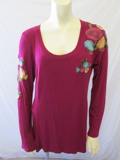 Soft Surroundings Floral Embroidered Rayon Blend Boho Top XL #SoftSurroundings #KnitTop #Casual