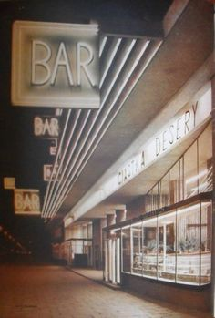 Bar Praha w Alejach Jerozolimskich. Kopydłowski, 1959 r. Warsaw Poland, Neon Lighting, Bar, Neon Signs, Modernism, Lantern, Vintage, Photographers, Bridge