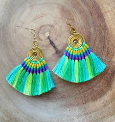 Tassel Fan Earrings Festival Tassel Earrings Aqua Tassle Earings BOHO Chic Earrings Gypsy Tassle Jewelry Trending Now Wholesale Jewelry by midgetgems on Etsy