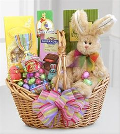 Wish them a very happy easter with this basket box filled with fresh easter sweets and treats bunny gift basket negle Image collections