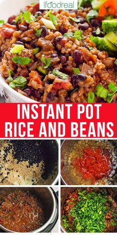 Instant Pot Rice and Beans – Vegetarian Dinner You can make Instant Pot Rice and Beans recipe tonight! With dried black beans, no soaking, no sauteing, in 30 minutes flat. Healthy vegan dinner in your pressure cooker. Instant Pot Beans And Rice Recipe, Canned Beans Recipe, Vegetarian Rice And Beans Recipe, Healthy Beans, Healthy Recipes, Healthy Black Bean Recipes, Recipe Tonight, Rice Recipes For Dinner, Easy