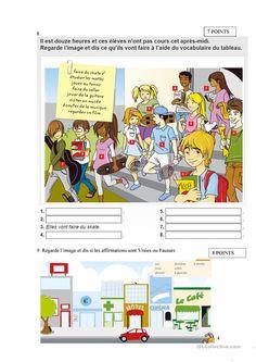 Contrôle niveau 1 « Les sorties et les loisirs » - Français Fle Fiches Pedagogiques