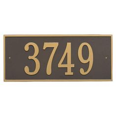 Hartford Rectangular Bronze/Gold Estate Wall 1-Line Address Plaque