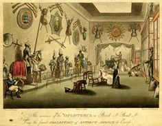 Interior of a room in new Hanover Square, with a display of ancient armour; in left foreground a man sits holding a book and gesturing towards objects, in centre of room a lady sits next to another  who stands lookig at armour; to the right a man on his knees peers through a display cabinet.  1816  Etching and aquatint with hand-colouring