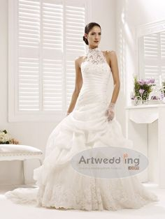 Illusion High Neck Organza over Tulle Bridal Gown