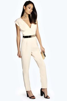 SHANAE ROLL SLEEVE METAL BELTED WOVEN JUMPSUIT