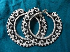 Hoop Earrings Seed Beaded Aztec Style White and Black Large on Etsy