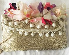 borsa perline e fiori handmade