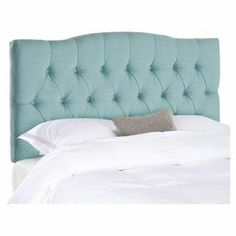 "Add a chic focal point to your master suite or guest bedroom with this charming linen-upholstered headboard, showcasing diamond tufting and a soft sky blue hue.    Product: Queen headboardConstruction Material: Plywood and linenColor: Sky blueFeatures: Diamond tufted Dimensions: 54.1"" H x 61.8"" W x 5.3"" D  Note: Includes headboard only"