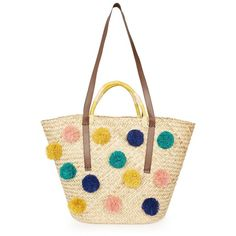 TopShop Summer Pom Pom Straw Tote Bag ($52) ❤ liked on Polyvore featuring bags, handbags, tote bags, natural, white purse, straw tote beach bag, summer straw handbags, tote handbags and beach tote