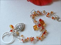 'Sunset Tangarine' - Sterling Silver and Crystal Beaded Bracelet