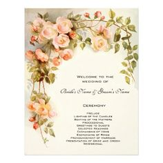 Vintage Wedding Program, Pink Rose Flowers Floral