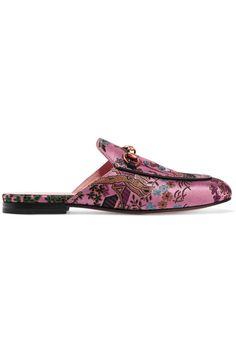 Gucci - Princetown Horsebit-detailed Metallic Jacquard Slippers - Pink - IT40
