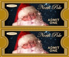 """North Pole """"ADMIT ONE"""" Ticket 2up by KSE Graphics, via Flickr"""