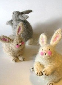 Knitted and felted bunnies