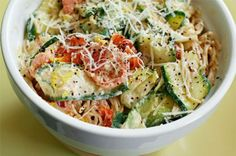 Pasta with Zucchini, Tomatoes, and Creamy Lemon-Yogurt Sauce #healthy #recipe #greekyogurt