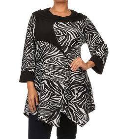 Look at this #zulilyfind! Black & White Zebra Handkerchief Tunic - Plus #zulilyfinds