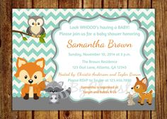 Hand Drawn Forest Animals Baby Shower Invitations D360