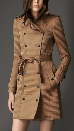 Rib-Quilted Military Coat