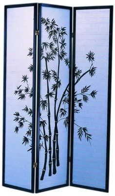 Roundhill 3-Panel Oriental Shoji Screen/Room Divider, Black