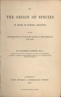 The title page of 'On the Origin of Species.' (Photo: Wikimedia)