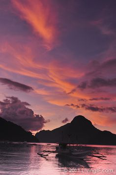 Stunning beautiful sunset at El Nido Palawan.