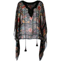 Roberto Cavalli floral kaftan ($1,010) ❤ liked on Polyvore featuring tops, tunics, black, kaftan tunic, silk tunic, roberto cavalli kaftan, silk top and colorful tunics