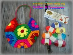 Cute hexagon purse crochet pattern. Who knew that the bon bons could go such a long way?
