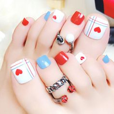 24 pcs cute colorful magazine style false toe nails for women - Reality Worlds Tactical Gear Dark Art Relationship Goals Coffen Nails, Feet Nails, Swag Nails, Pink Nails, Simple Toe Nails, Cute Toe Nails, Toe Nail Art, Nail Nail, Feet Nail Design
