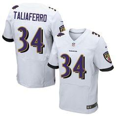 Nike Elite Lorenzo Taliaferro White Men's Jersey - Baltimore Ravens #34 NFL Road