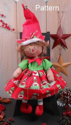 PDF E-Pattern #75 Christmas Elf Girl Primitive Raggedy Folk Art Cloth Doll Holiday Sewing Craft