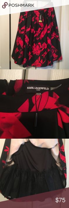Karl Lagerfeld Red and Black Skirt NWT Size 14 NWT Ladies Skirt Karl Lagerfeld Skirts