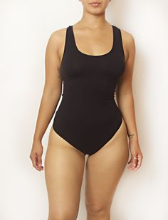 Plus Black Body By Babes Thong Bodysuit w/ Tummy Control - Babes And Felines | Specializing in Fashionable Staple Pieces for Every Shape and Size