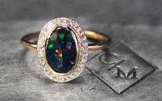 1.17 Carat Black Opal Ring with Diamond Halo - CHINCHAR•MALONEY