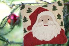 square hand hooked pillow, made with natural wool. Zippered velveteen backing with poly-fill pillow insert. Wool Pillows, Throw Pillows, Childlike Faith, Green Christmas, Christmas Stuff, Christmas Eve, Christmas Trees, Christmas Decor, Xmas