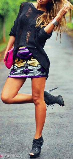 Short skirt with black shirt & black shoes + elegant accessories..