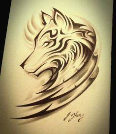 Wolf tattoo design with tribal Kunst Tattoos, Body Art Tattoos, Tribal Tattoos, Sleeve Tattoos, Symbols Tattoos, Forearm Tattoos, Tattoo Neck, Tribal Drawings, Girly Tattoos