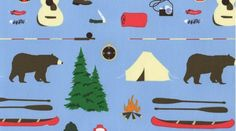 Jack and LuLu, Take a Hike, Camping Blue from Fabric Worm