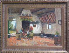 Korff, Bertha von   Deel boerderij met moeder en dochter   interieur   Caput Ovis   collectie schilderijen & kunst