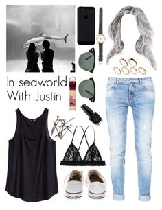 """""""In seaworld With Justin"""" by justin94bieber ❤ liked on Polyvore featuring H&M, Zara, Essie, Converse, Monki, J.Crew, Ray-Ban, ASOS and OPI"""