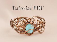 Tutorial jewelry DIY project - Wire wrapped Bracelet Leila - PDF Tutorial wire wrap