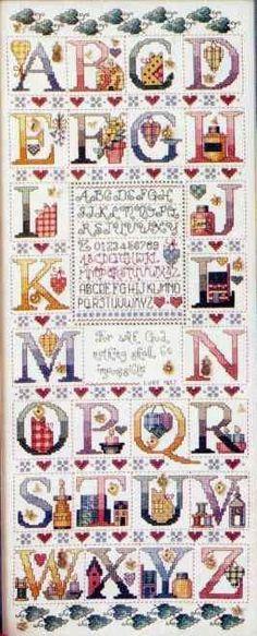 Schema punto croce Abc Tea 00. Alphabet sampler   cross stitch alphabet