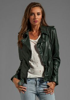 MUUBAA Nido Quilted Moto in Bottle Green at Revolve Clothing