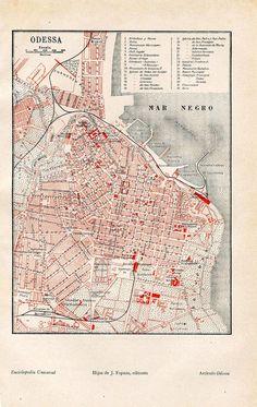 Vintage City Map  Street Plan 1920s Ukraine by CarambasVintage