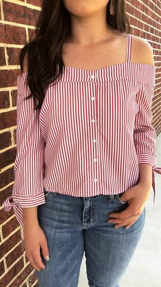 Red Stripe Off Shoulder Top - Luna Boutique Off The Shoulder Top Outfit, Striped Off Shoulder Top, Off Shoulder Shirt, Off Shoulder Tops, Cold Shoulder, Sewing Clothes, Diy Clothes, Shirt Refashion, Latest Street Fashion